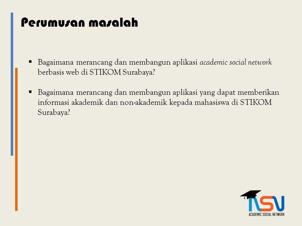 Perumusan masalah Bagaimana merancang dan membangun aplikasi academic social network berbasis web di STIKOM Surabaya