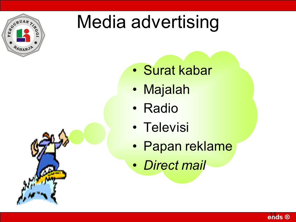 Media advertising Surat kabar Majalah Radio Televisi Papan reklame