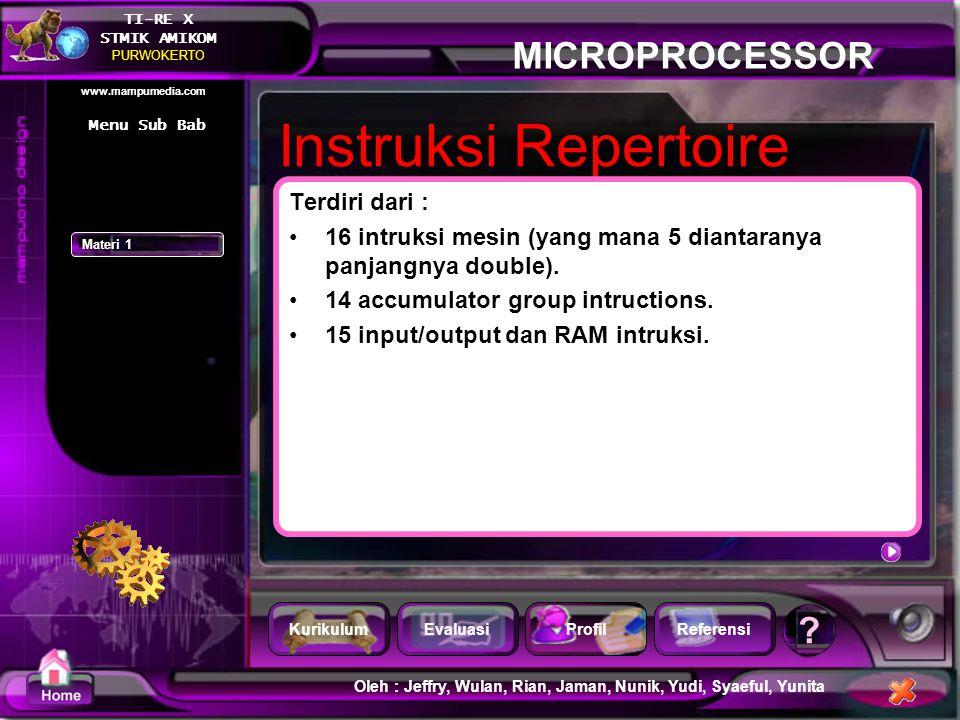 Instruksi Repertoire Terdiri dari :