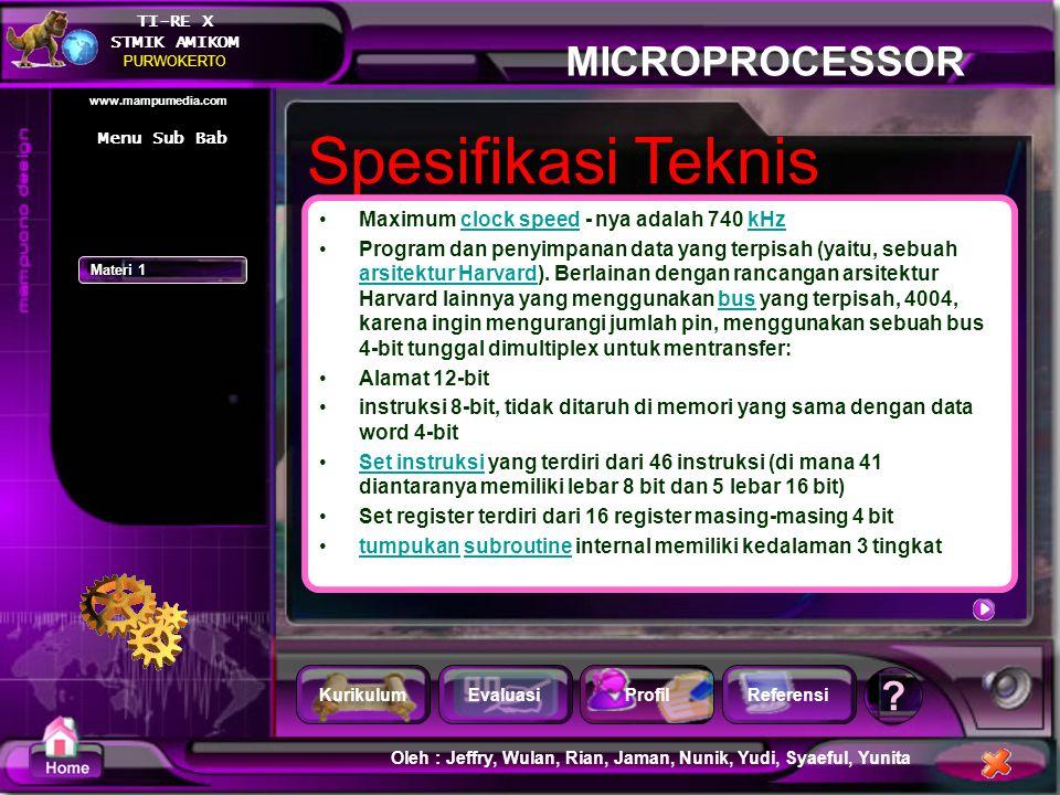 Spesifikasi Teknis Maximum clock speed - nya adalah 740 kHz