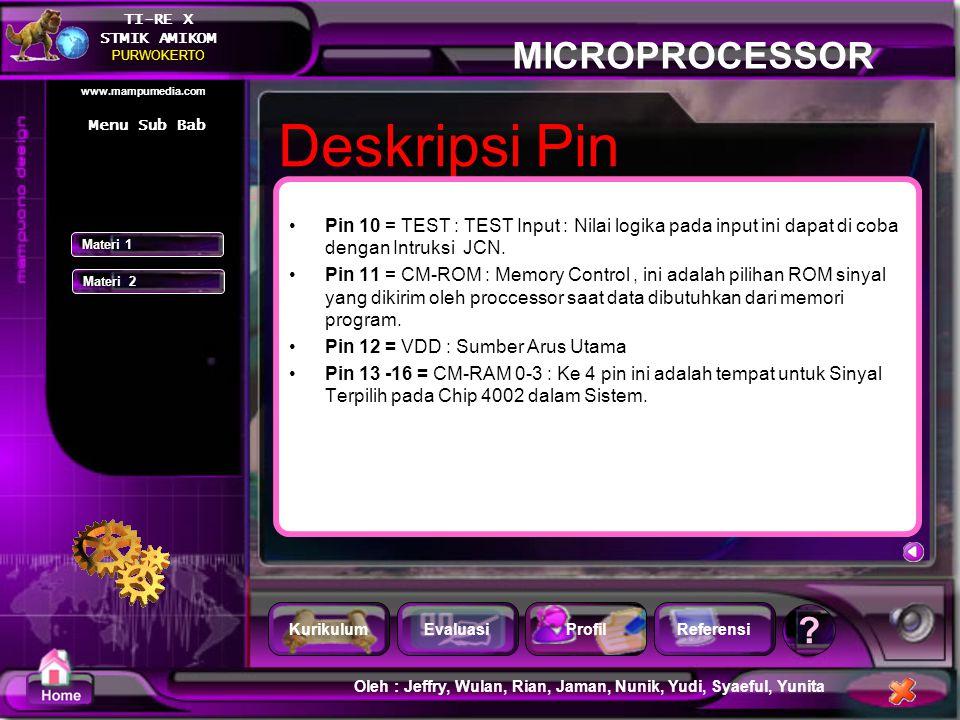Menu Sub Bab Deskripsi Pin. Pin 10 = TEST : TEST Input : Nilai logika pada input ini dapat di coba dengan Intruksi JCN.