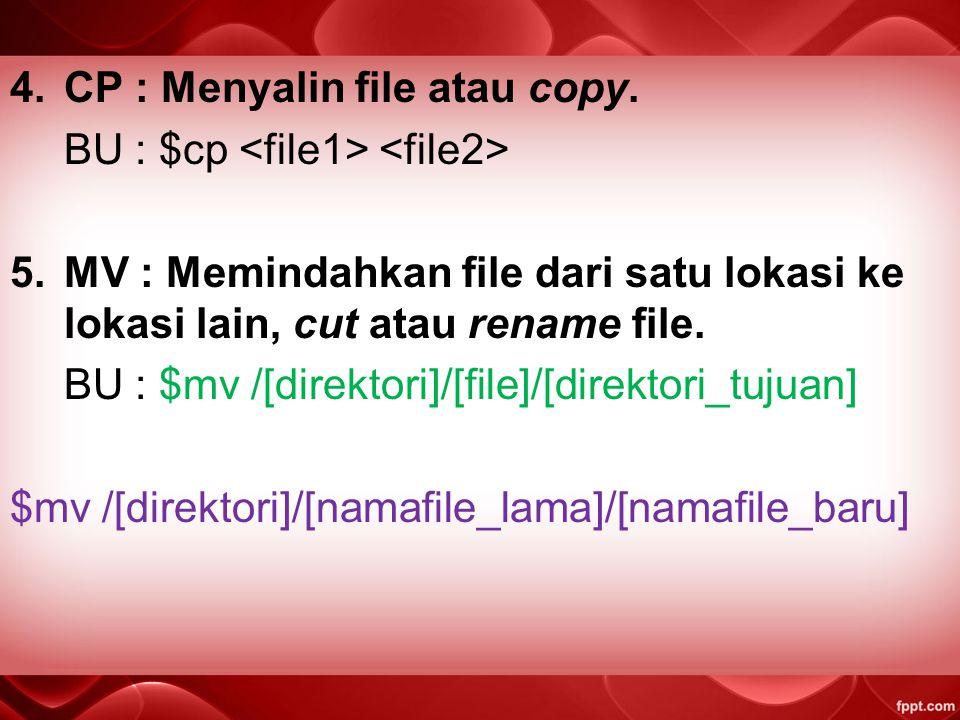 CP : Menyalin file atau copy.