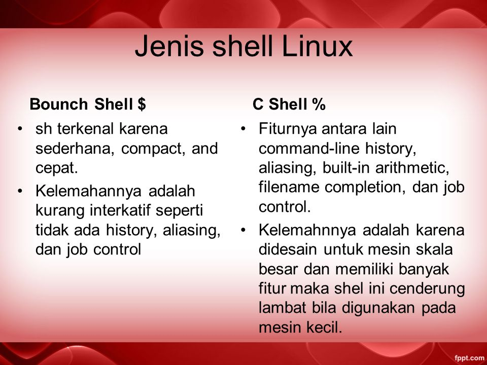 Jenis shell Linux Bounch Shell $ C Shell %