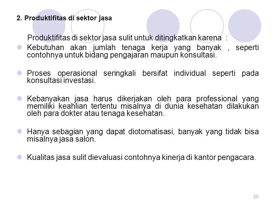2. Produktifitas di sektor jasa