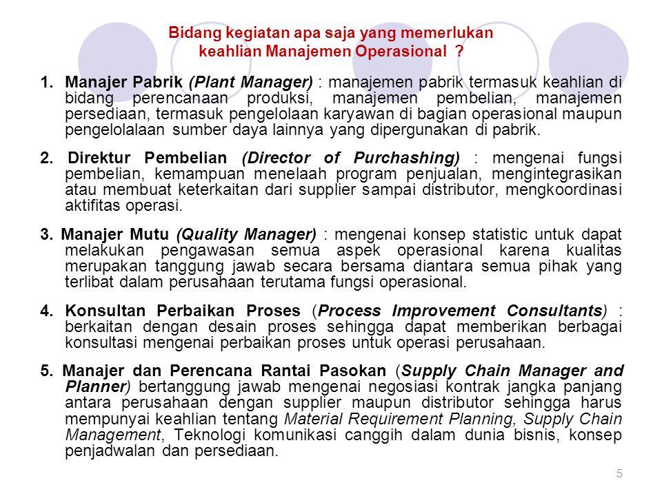 Bidang kegiatan apa saja yang memerlukan keahlian Manajemen Operasional