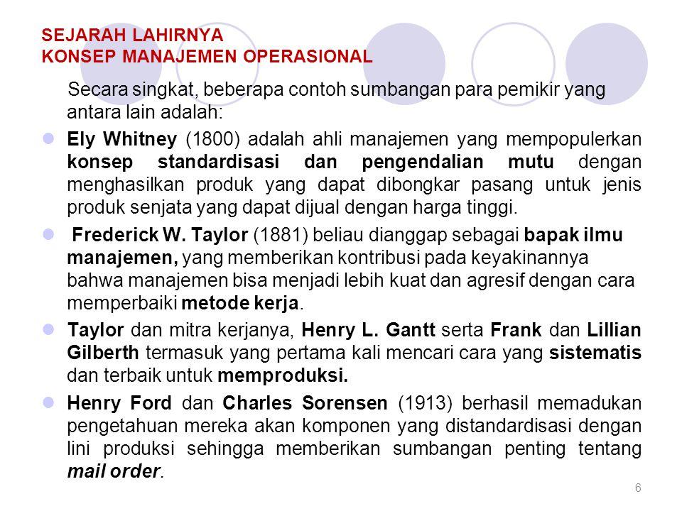 SEJARAH LAHIRNYA KONSEP MANAJEMEN OPERASIONAL