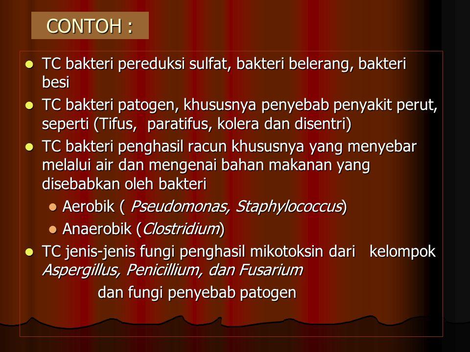 CONTOH : TC bakteri pereduksi sulfat, bakteri belerang, bakteri besi