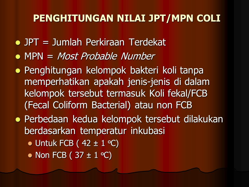 PENGHITUNGAN NILAI JPT/MPN COLI