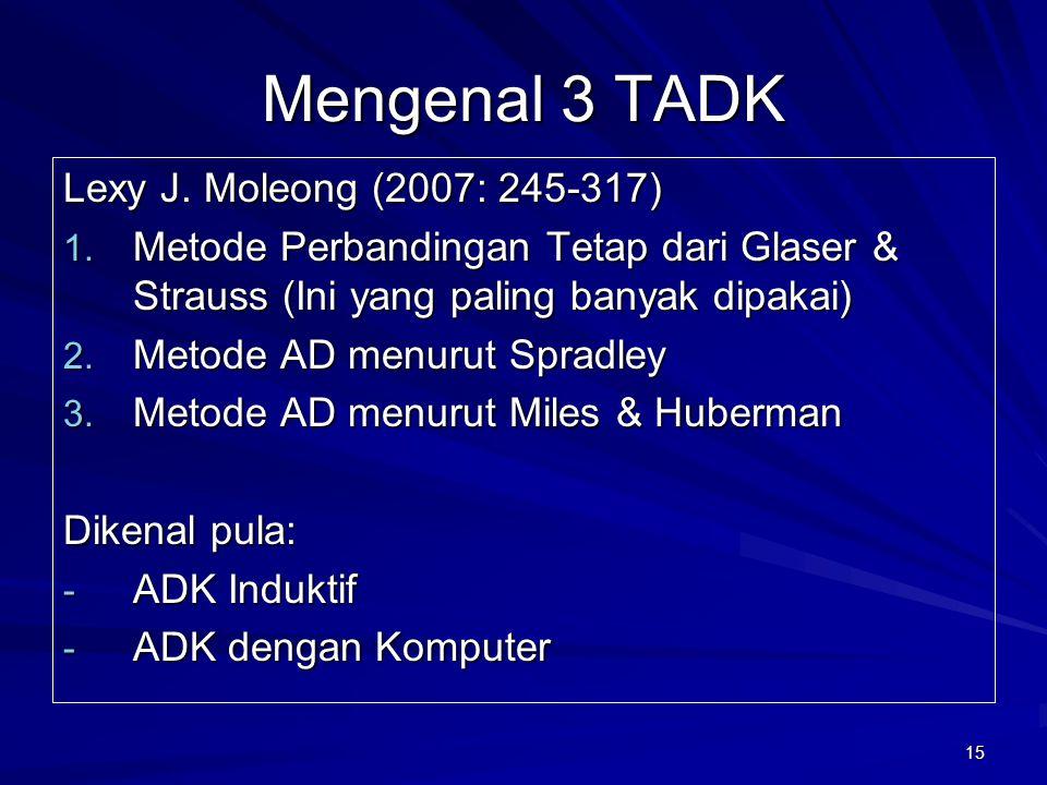 Mengenal 3 TADK Lexy J. Moleong (2007: 245-317)