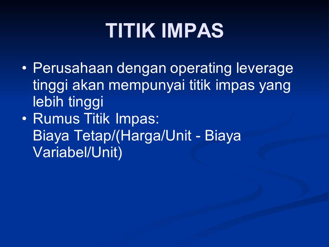 TITIK IMPAS Perusahaan dengan operating leverage tinggi akan mempunyai titik impas yang lebih tinggi.
