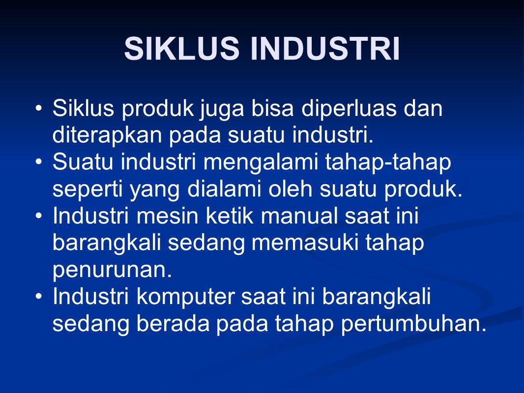 SIKLUS INDUSTRI Siklus produk juga bisa diperluas dan diterapkan pada suatu industri.