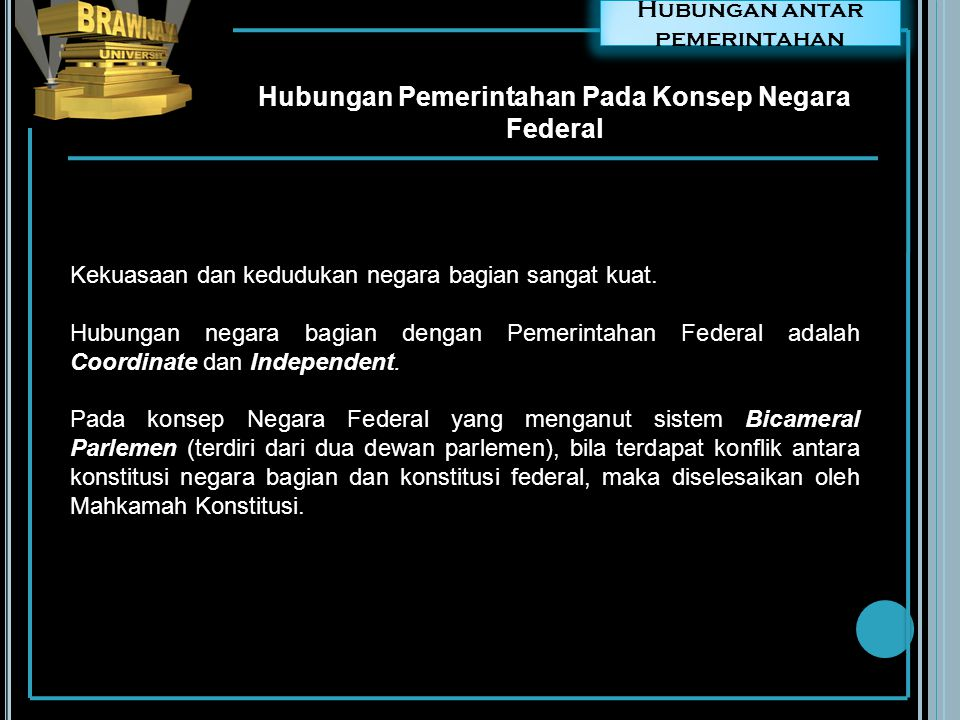 Hubungan Pemerintahan Pada Konsep Negara Federal