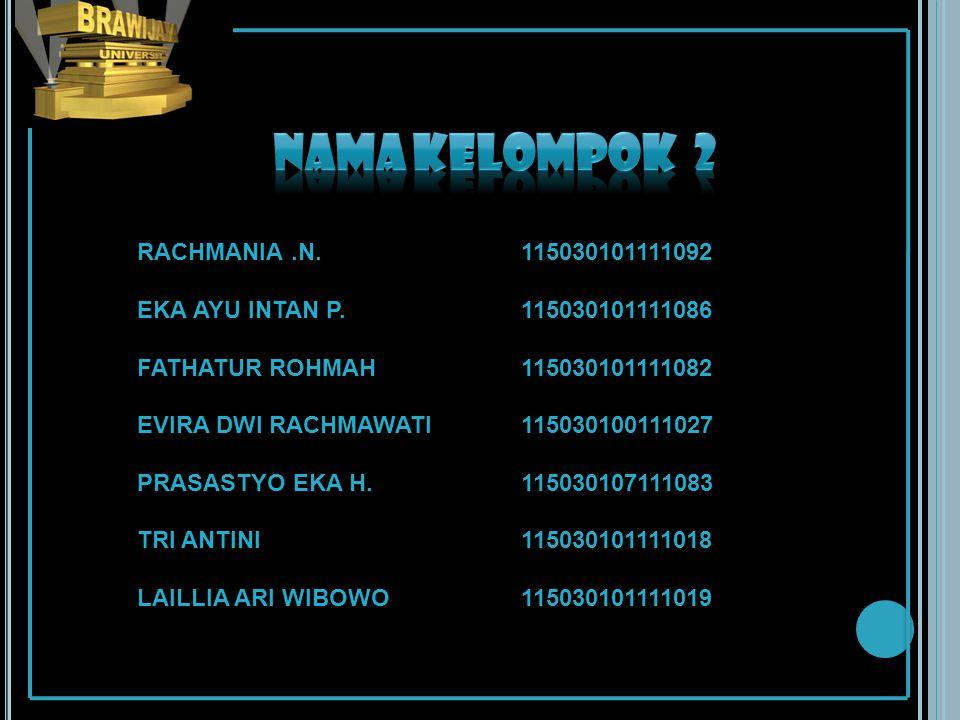 Nama kelompok 2 RACHMANIA .N. 115030101111092