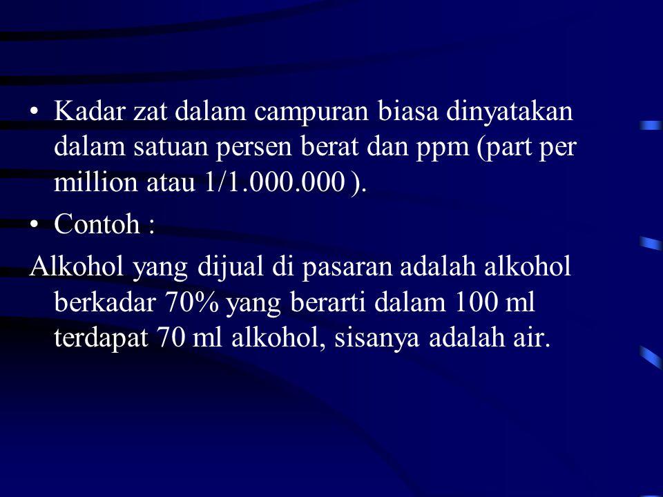 Kadar zat dalam campuran biasa dinyatakan dalam satuan persen berat dan ppm (part per million atau 1/1.000.000 ).
