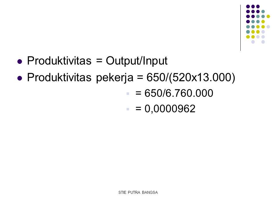 Produktivitas = Output/Input Produktivitas pekerja = 650/(520x13.000)