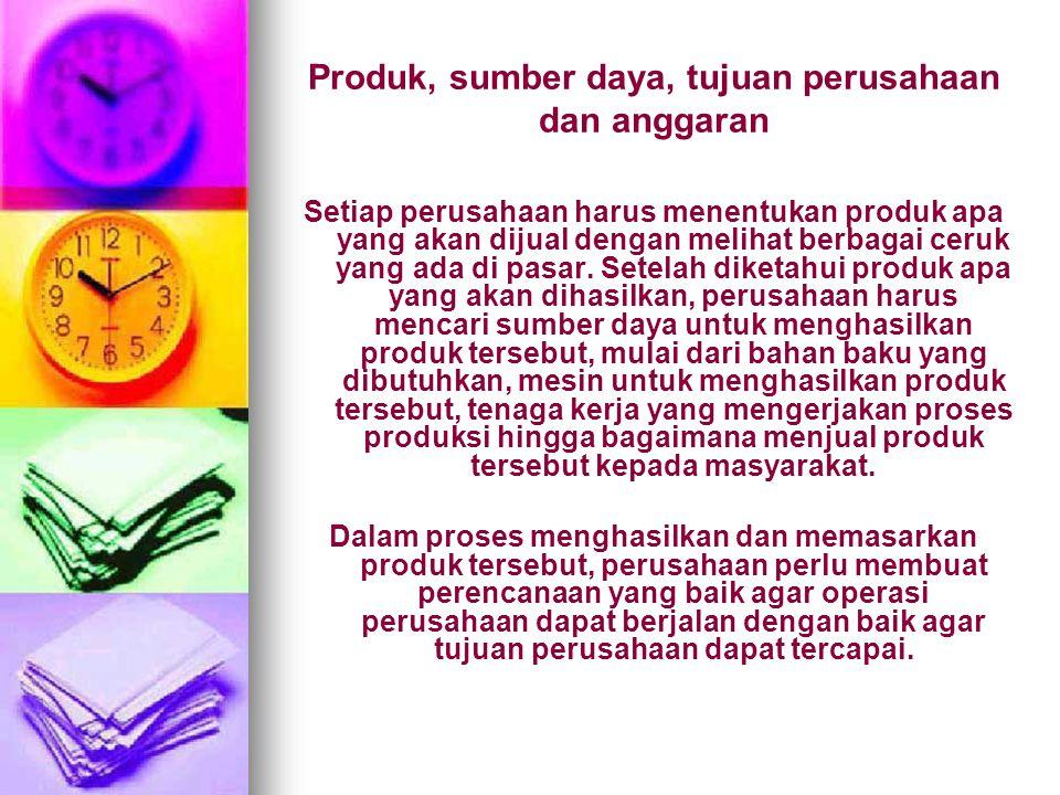 Produk, sumber daya, tujuan perusahaan dan anggaran
