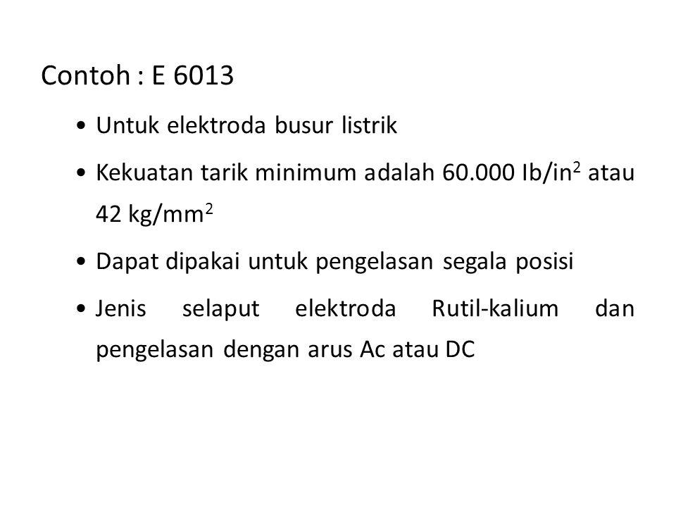 Contoh : E 6013 Untuk elektroda busur listrik