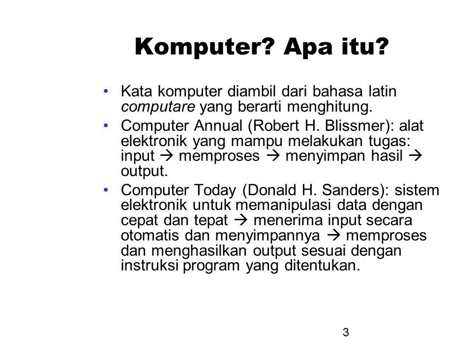 Komputer Apa itu Kata komputer diambil dari bahasa latin computare yang berarti menghitung.