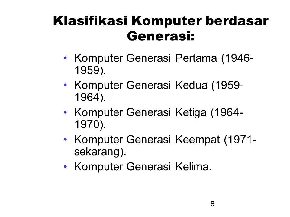 Klasifikasi Komputer berdasar Generasi: