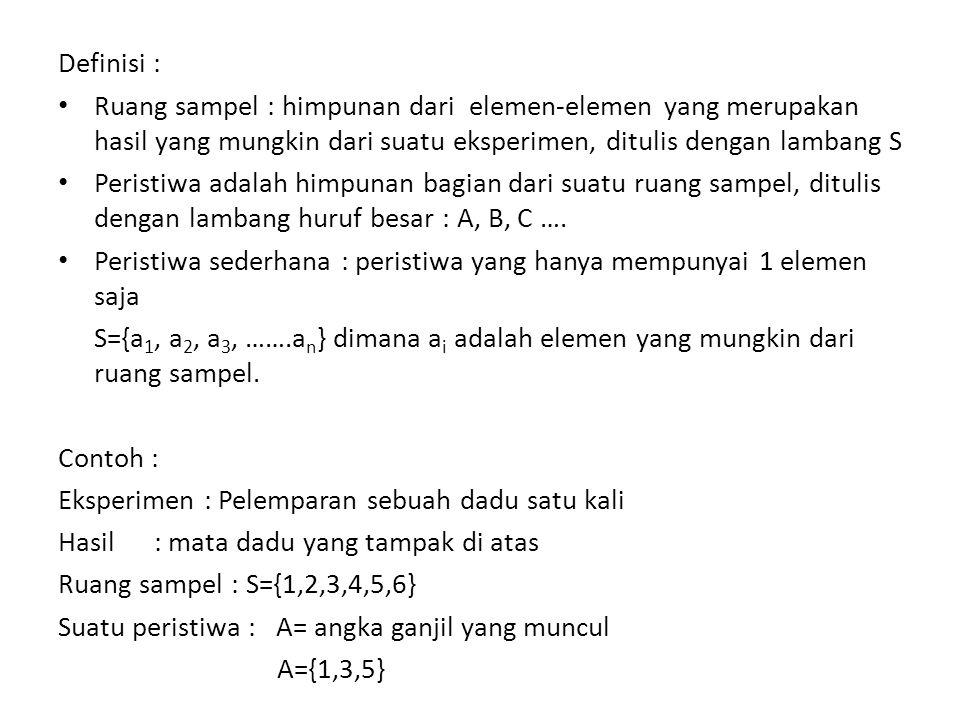 Definisi : Ruang sampel : himpunan dari elemen-elemen yang merupakan hasil yang mungkin dari suatu eksperimen, ditulis dengan lambang S.