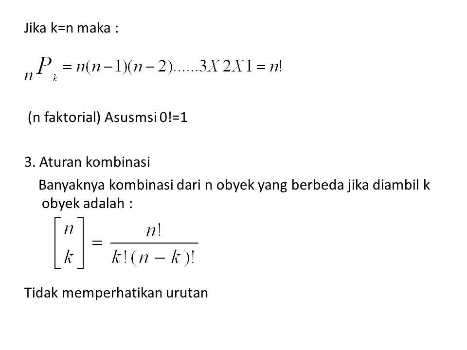 Jika k=n maka : (n faktorial) Asusmsi 0. =1 3