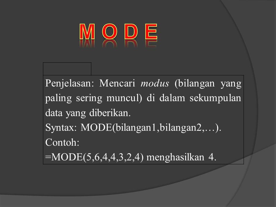 M O D E Penjelasan: Mencari modus (bilangan yang paling sering muncul) di dalam sekumpulan data yang diberikan.