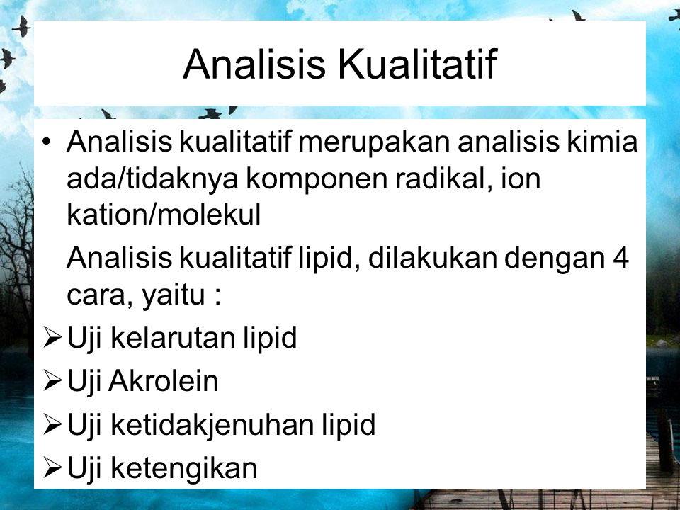 Analisis Kualitatif Analisis kualitatif merupakan analisis kimia ada/tidaknya komponen radikal, ion kation/molekul.