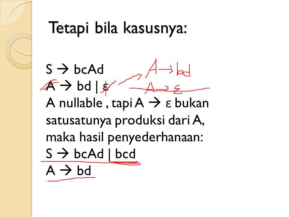 Tetapi bila kasusnya: S  bcAd A  bd | ε