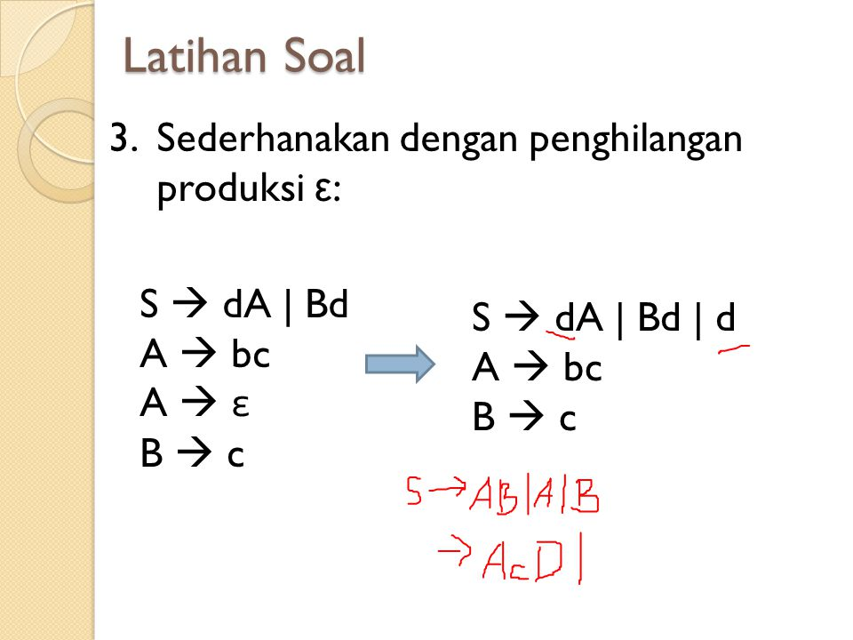 Latihan Soal Sederhanakan dengan penghilangan produksi ε: S  dA | Bd