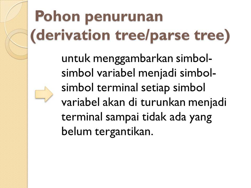 Pohon penurunan (derivation tree/parse tree)