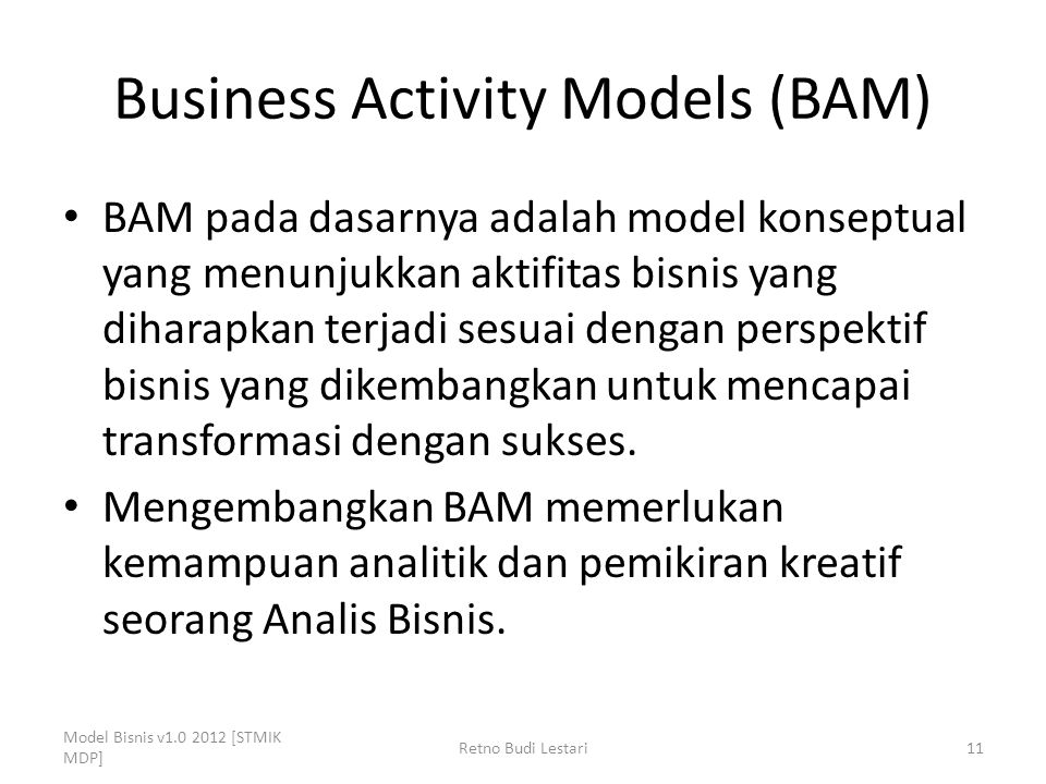 Business Activity Models (BAM)