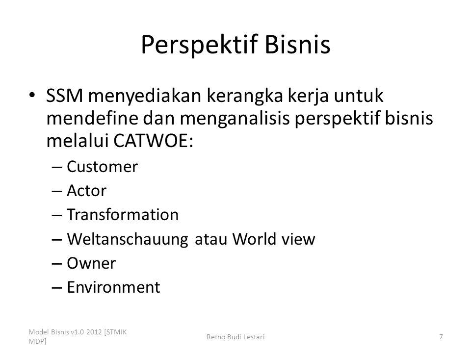 Perspektif Bisnis SSM menyediakan kerangka kerja untuk mendefine dan menganalisis perspektif bisnis melalui CATWOE: