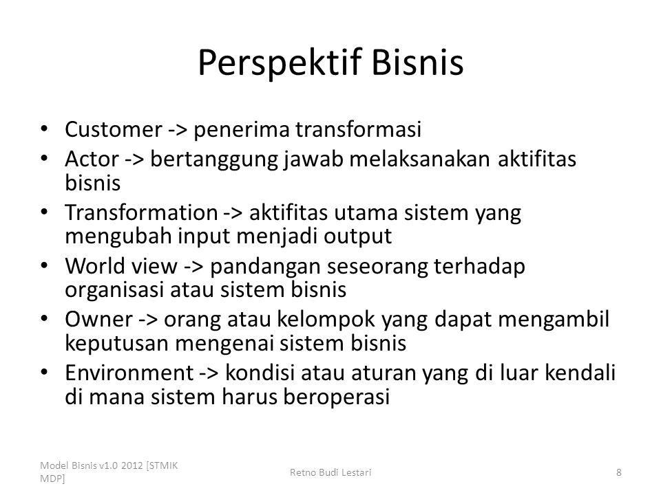 Perspektif Bisnis Customer -> penerima transformasi