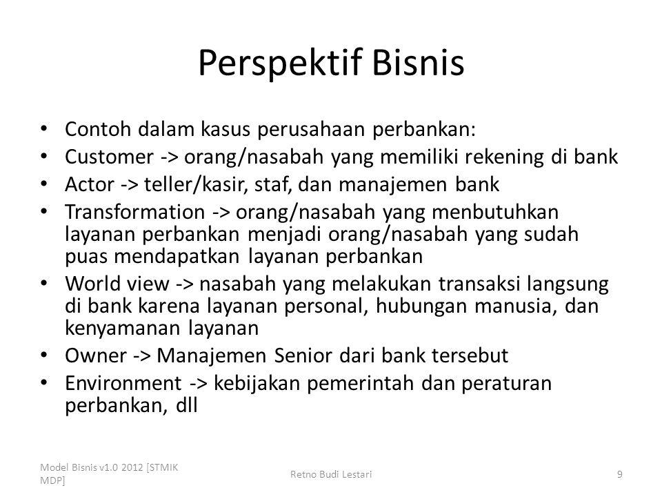 Perspektif Bisnis Contoh dalam kasus perusahaan perbankan: