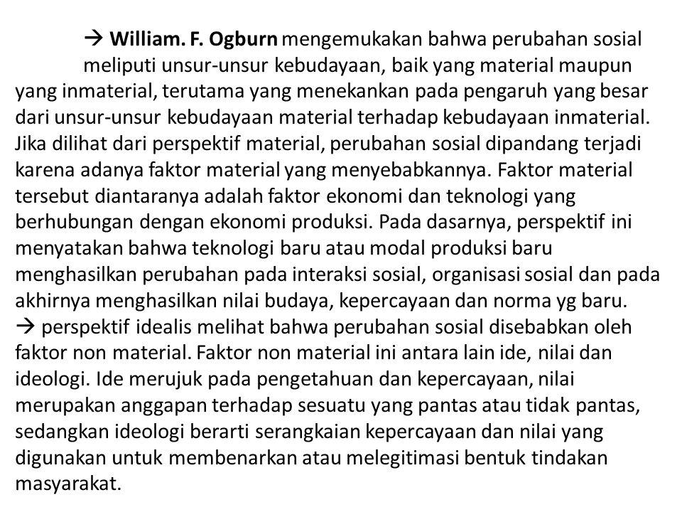  William. F. Ogburn mengemukakan bahwa perubahan sosial