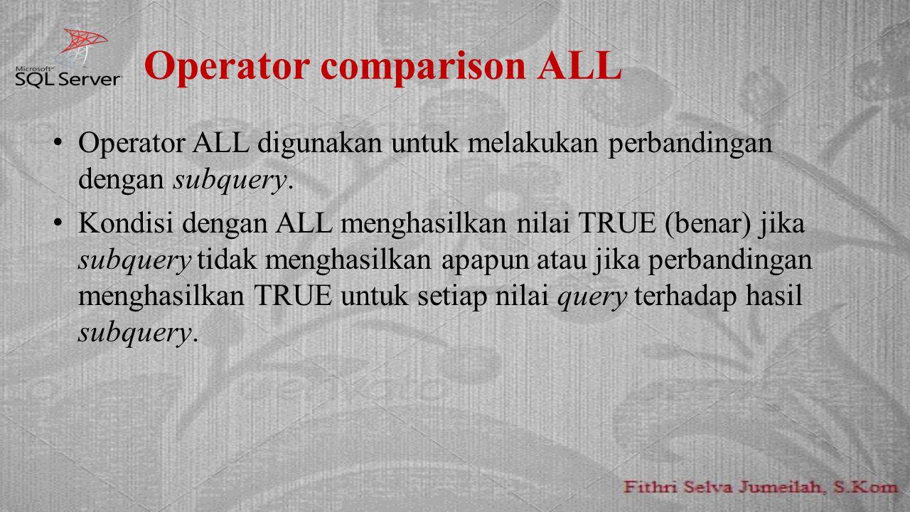 Operator comparison ALL