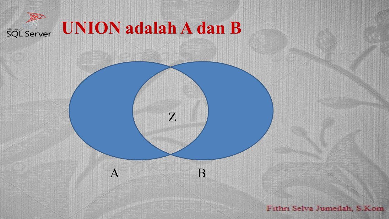 UNION adalah A dan B AA Z A B