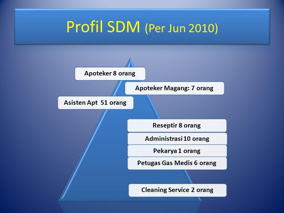 Profil SDM (Per Jun 2010) Apoteker 8 orang Apoteker Magang: 7 orang