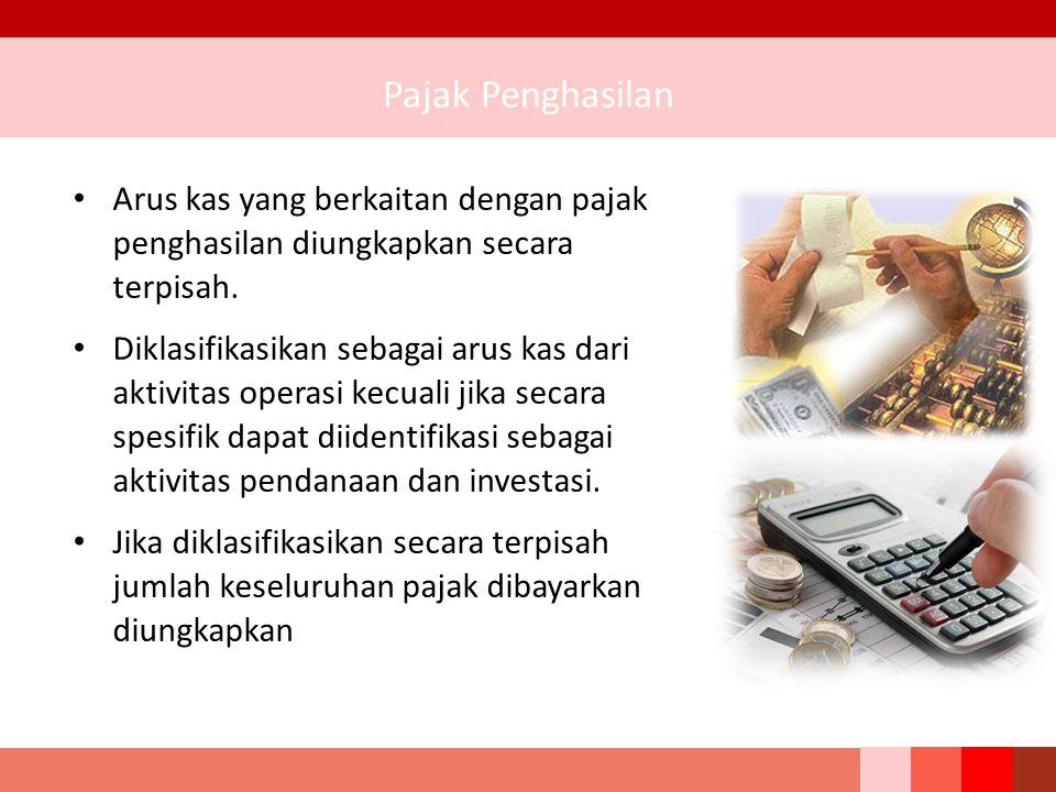 Pajak Penghasilan Arus kas yang berkaitan dengan pajak penghasilan diungkapkan secara terpisah.
