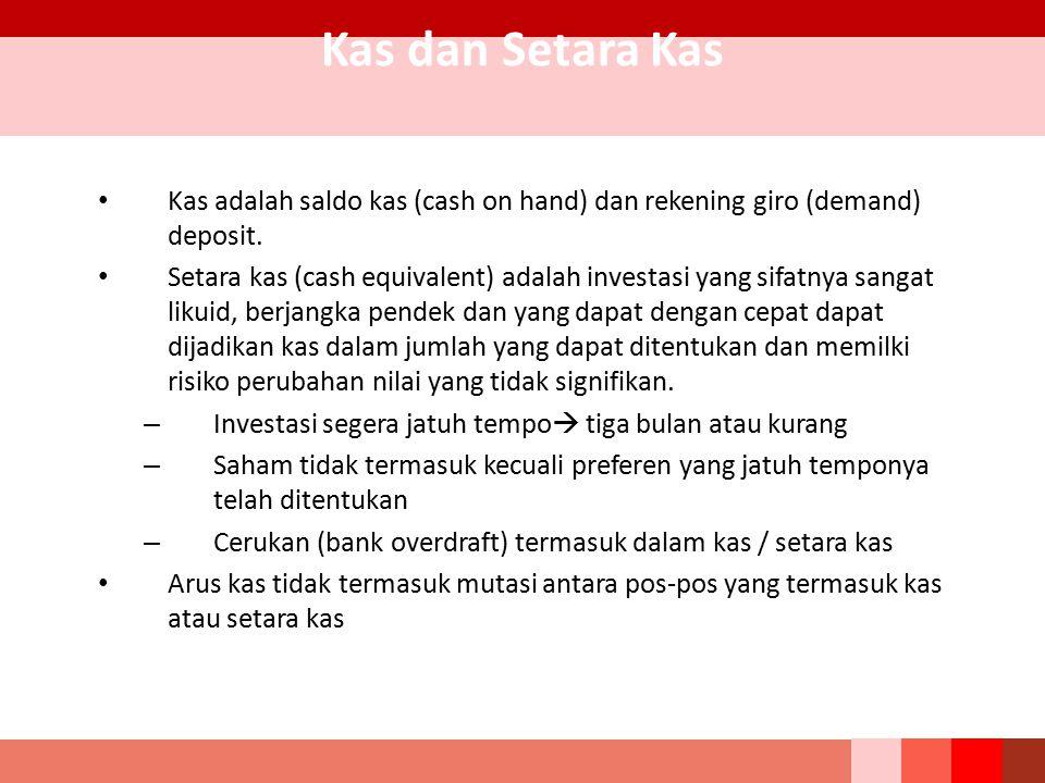 Kas dan Setara Kas Kas adalah saldo kas (cash on hand) dan rekening giro (demand) deposit.
