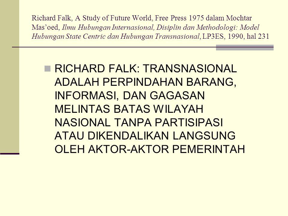 Richard Falk, A Study of Future World, Free Press 1975 dalam Mochtar Mas'oed, Ilmu Hubungan Internasional, Disiplin dan Methodologi: Model Hubungan State Centric dan Hubungan Transnasional, LP3ES, 1990, hal 231