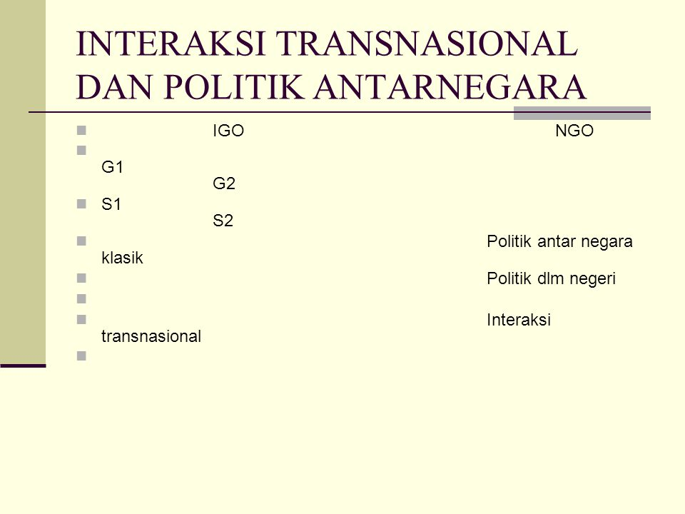 INTERAKSI TRANSNASIONAL DAN POLITIK ANTARNEGARA