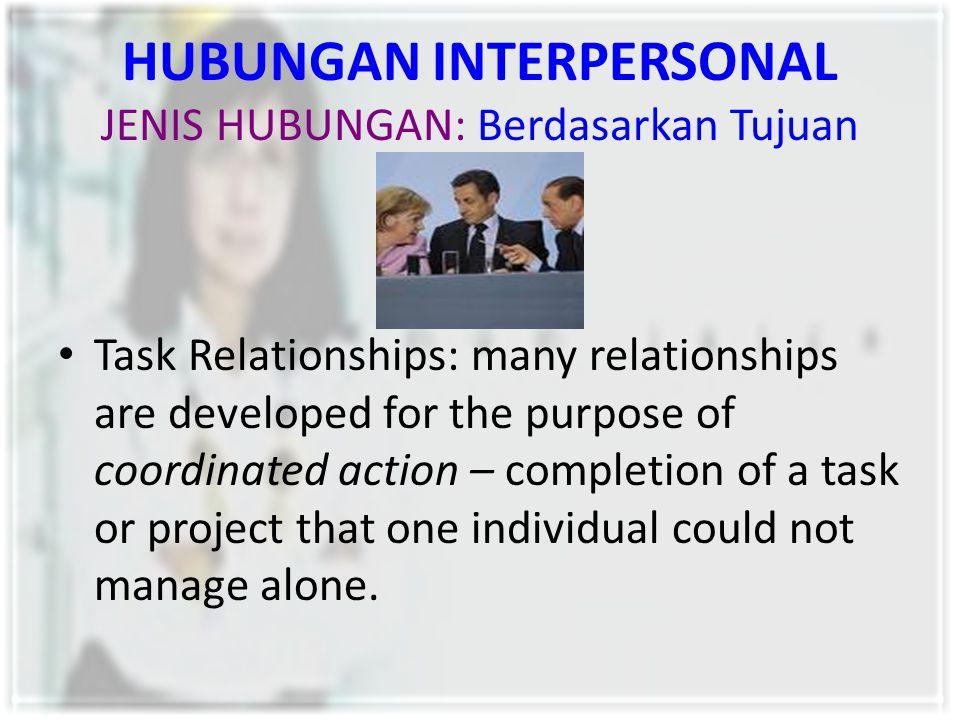 HUBUNGAN INTERPERSONAL JENIS HUBUNGAN: Berdasarkan Tujuan