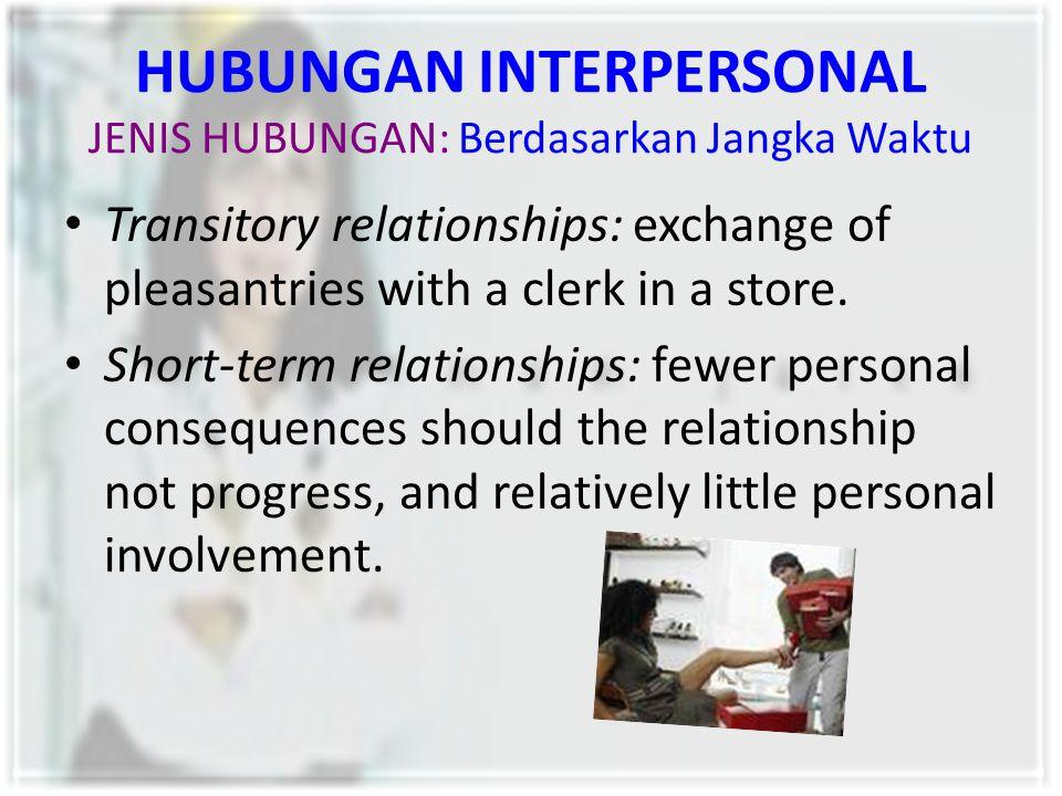 HUBUNGAN INTERPERSONAL JENIS HUBUNGAN: Berdasarkan Jangka Waktu