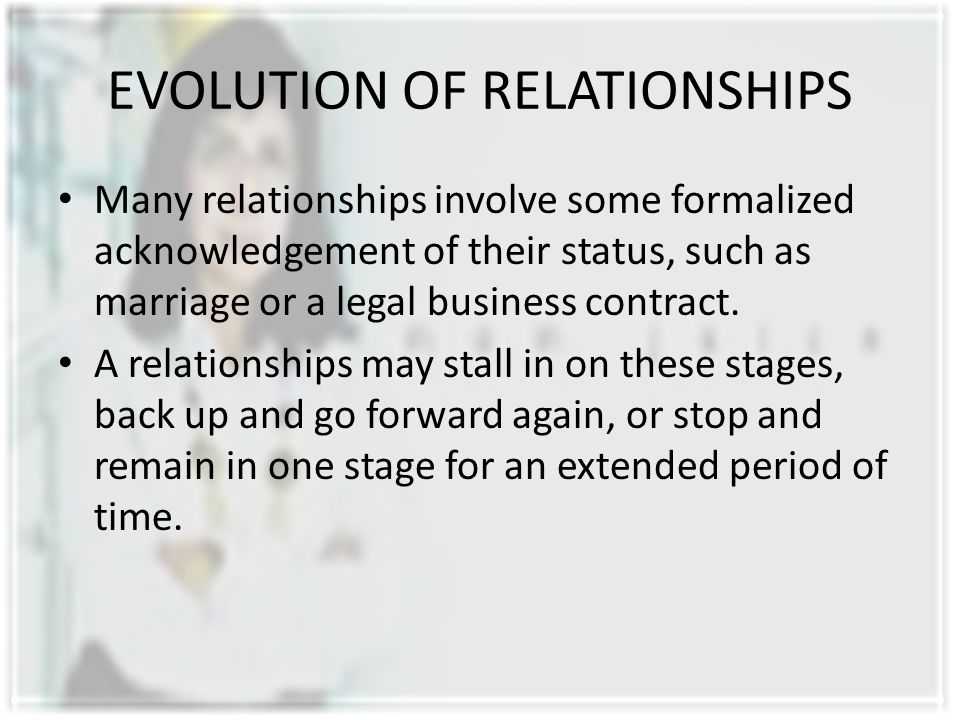 EVOLUTION OF RELATIONSHIPS