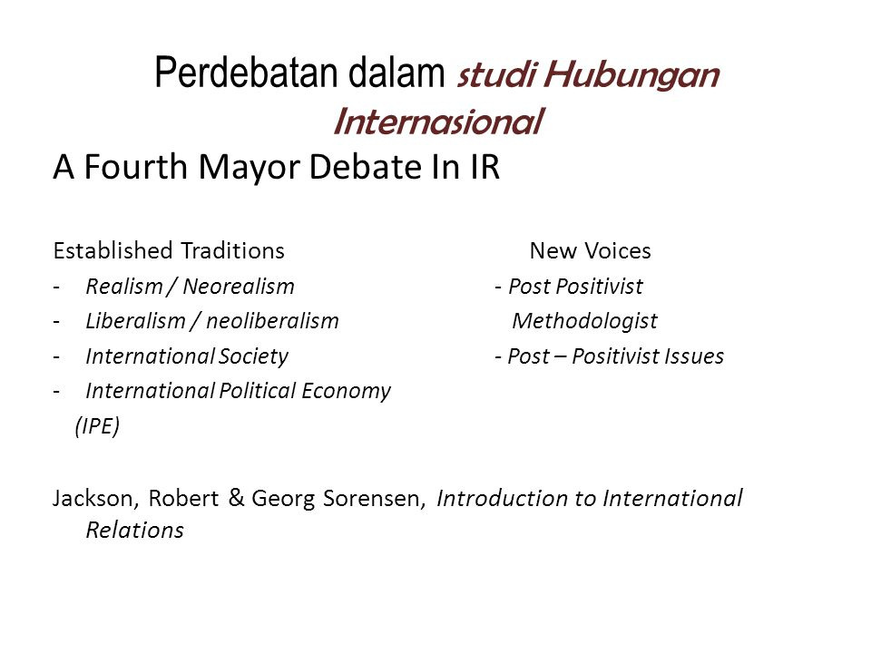 Perdebatan dalam studi Hubungan Internasional