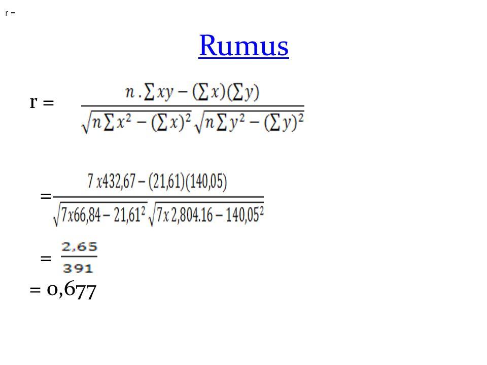 r = Rumus r = = = 0,677