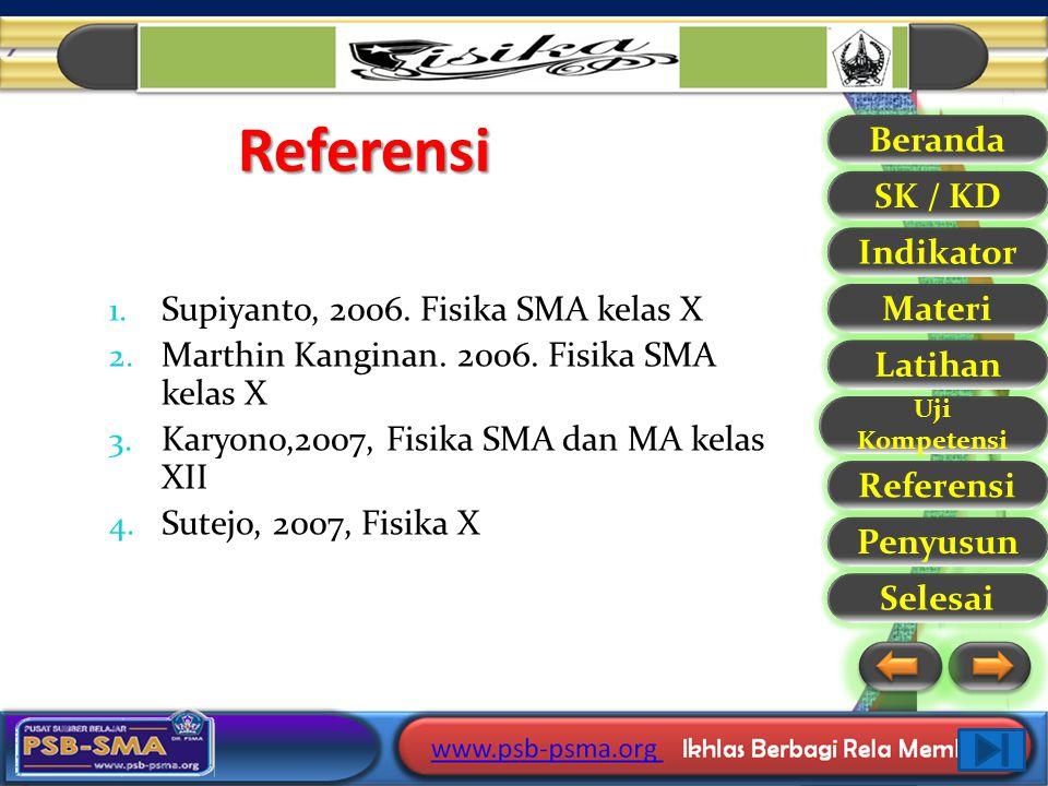 Referensi Supiyanto, 2006. Fisika SMA kelas X