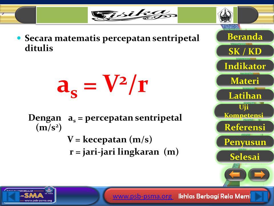 Secara matematis percepatan sentripetal ditulis