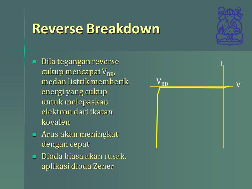Reverse Breakdown Bila tegangan reverse cukup mencapai VBR, medan listrik memberik energi yang cukup untuk melepaskan elektron dari ikatan kovalen.